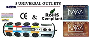 REGVOLT 8 Universal Power Strip 100V to 220V/250V with 2390 Joules Surge Protector, Universal Worldwide outlets (Tamaño: EUROPEAN - 8 Outlet Power Strip)