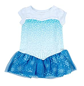 Frozen I Am Elsa Girls Short Sleeve Glitter Blue Costume Dress (Toddler 6X)