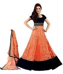 OMSAI FASHION Women's orange georgette Embroidery semi stitched Free Size Salwar Suit (Women's orange black Indian Clothing)