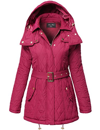 Warm Waist Belted Quilted Padding Hood Jackets,133-Burgundy,Medium
