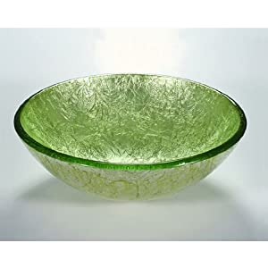 Wells Sinkware Art Glass Vessels - Metallic, Lime Green on Silver Above Counter Bathroom Sink, 16-1/2 inch Dia. x 5-3/4 inch H