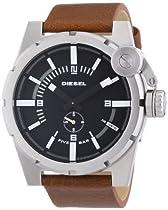 Diesel Black Dial Stainless Steel Brown Leather Mens Watch DZ4270