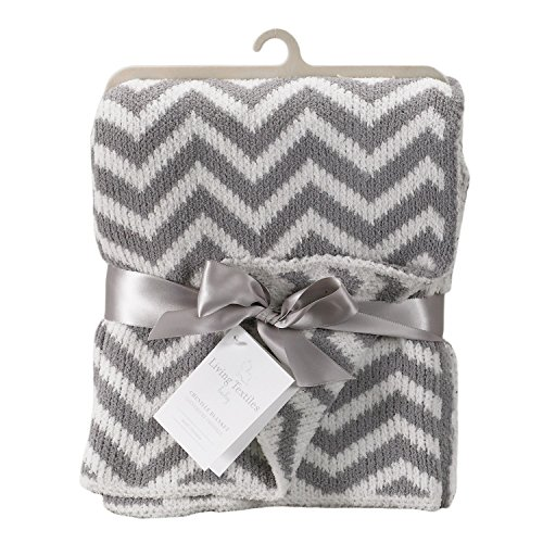 Living Textiles Chevron Blanket, Grey - 1