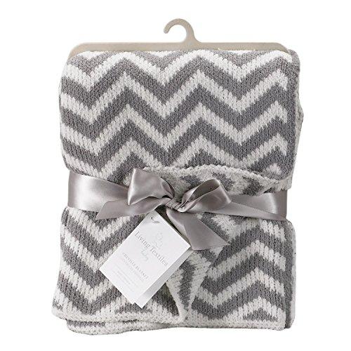 Living Textiles Chevron Blanket, Grey