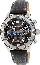 Nautica Men's NAD20503G Black Leather Quartz Watch