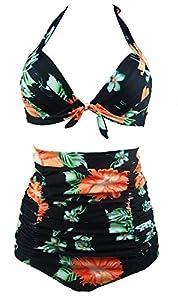 Spring Fever Retro 50s Elegant Vintage High Waist Bikini Swimsuit Swimwear