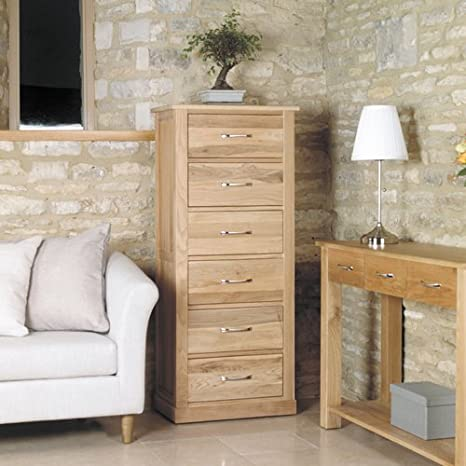 Mobel Solid Oak Tallboy (6 Drawer) Modern Stylish Chest of Drawers