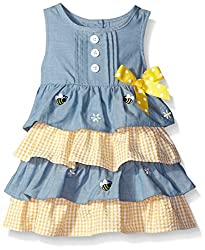 Baby Goodlad Little Girls' Chambray Seersucker with Bee Embroidery, Blue, 24 Months
