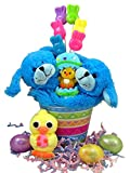 Hugging Plush Stuffed Animal Toy with Candy and Eggs Easter Basket