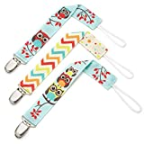 Pacifier Clip – 3 Pack, Unisex – Unique 2-Sided Retro Owls Design, Pacifier Holder Set for Girls and Boys – Best Binky Leash for Teething Toys, Baby Blankets, Soothie – Perfect Baby Shower Gift