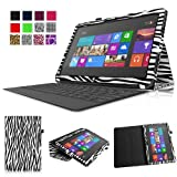 Fintie Folio Case for Microsoft Surface RT / Surface 2 10.6 inch Tablet Slim Fit with Stylus Holder (Does Not Fit Windows 8 Pro Version) - Zebra Black