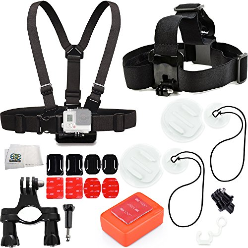 SUP (Standup paddleboarding) Accessory Kit Includes Handlebar Mount + Surfboard Mount Kit + Floaty Sponge & 3M Adhesive + Head Strap + Chest Strap + 2X Curved & Flat Adheive Mounts + Microfiber Cleani