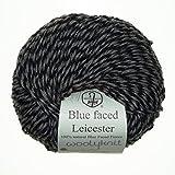 50g balls of Woolyknit Blue Faced Leicester DK 100 British Wool hand knitting Yarn Jet Black Mid Brown Twist