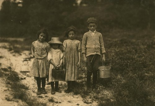 1911 child labor photo Three pickers going home from work. Anne Benotte, said 7 years old. Brother V