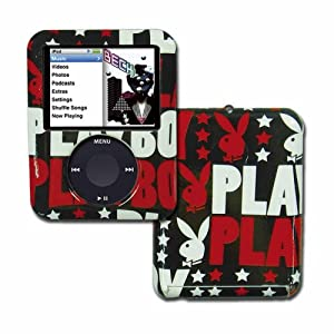 PLAYBOY Snap On Case with Playboy Text, Bunny and Star for 4GB / 8GB ipod Nano Video 3G (Black/White/Red)