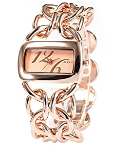 AOYI Lady Women Rose Gold Tone Stainless Steel Bracelet Bangle Quartz Wrist Watch WK1034