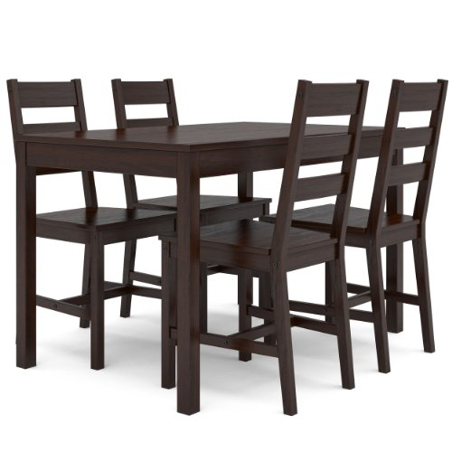 CorLiving DTC-894-T Cappuccino Stained Kitchen Set with 4 Chairs