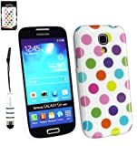 Emartbuy® Stylus Pack For Samsung Galaxy S4 Mini I9190 White Metallic Mini Stylus + LCD Screen Protector + Multi-Coloured Polka Dots Gel Skin Cover/Case