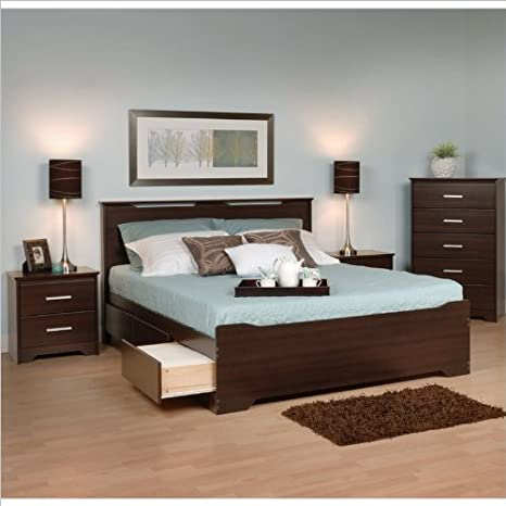 Prepac Coal Harbor 4-Piece Queen Bedroom Set in Espresso