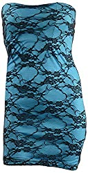 SPLURGE Women's Regular Fit Dress (Blue & Black, M)