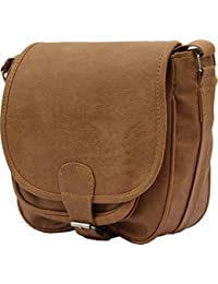 Edify Premium Solid Design PU Leather Womens Sling Bag With Adjustable Strap (Light Brown Color)