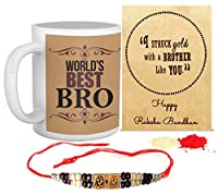 Tied Ribbons Multicolor Ceramic Rakhi With Roli Chawal Chandan & Mishri & Coffee Mug 325 Ml For Brother(Men/Boys)