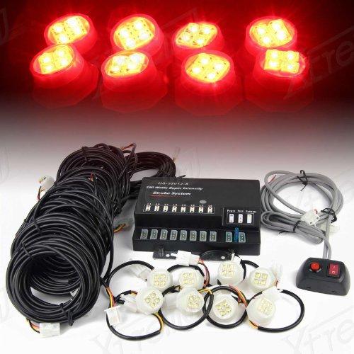 Xtreme® 160W 8 Led Bulbs Hide-A-Way Emergency Hazard Warning Strobe Lights - Red