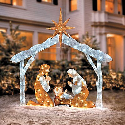 Nativity scene outdoor decoration for Outdoor light up christmas decorations