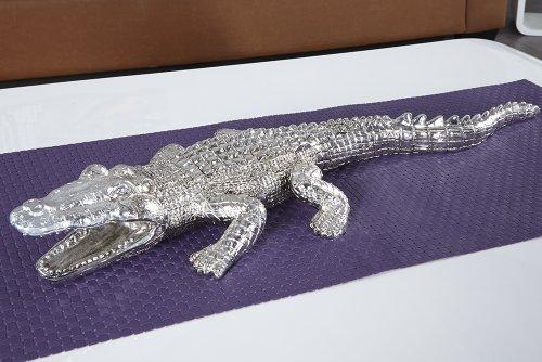Große Skulptur CROCODILE Krokodil Figur 60cm silber für innen und außen thumbnail