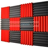 2x12x12 (12 Pack) RED/CHARCOAL Acoustic Wedge Soundproofing Studio Foam Tiles