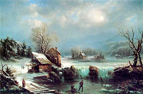 Mid-Winter Moonlight - by Marie-Francois-Regis Gignoux