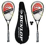 2 x Dunlop Biotec Max Titanium Squash Rackets + Cover + 3 Squash Balls RRP £135