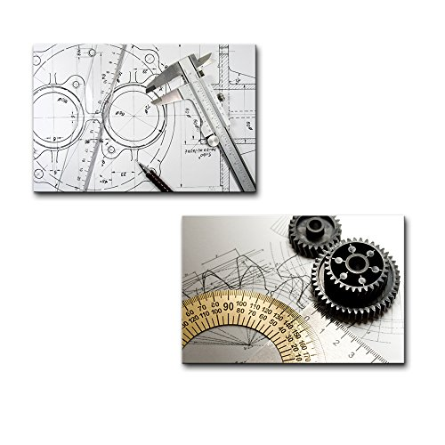 Wall26 - Canvas Prints Wall Art - Caliper, Ruler and Pencil and Gears on Technical Drawings | Modern Wall Decor/ Home Decoration Stretched Gallery Canvas Wrap Giclee Print. Ready to Hang - 16