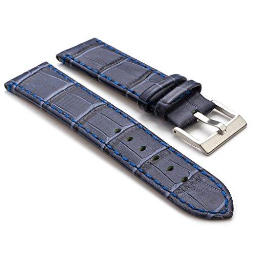 Strapsco Blue Premium Crocodile Embossed Flat Leather Watch Strap In Size 24Mm