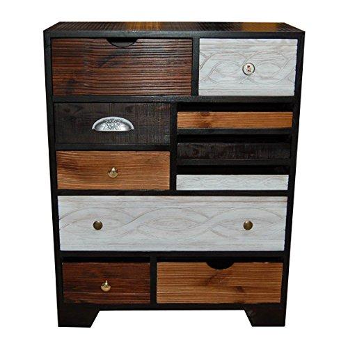 schubladen bunt braun wei breite 70 cm tiefe 30 cm h he 90 cm. Black Bedroom Furniture Sets. Home Design Ideas