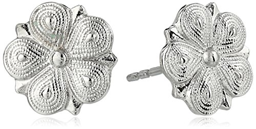 1928 Jewelry Silver-Tone Floral Stud Earrings