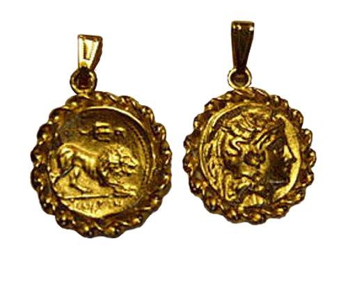 Athena & Roman Lion Gold Coin Pendant