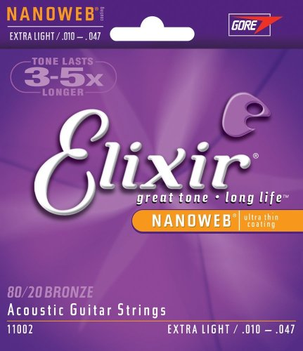 Elixir Strings 80/20 Bronze Acoustic Guitar Strings w NANOWEB Coating, Extra Light (.010-.047) (Nanoweb Extra Light compare prices)