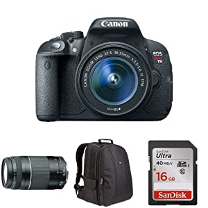 Canon EOS Rebel T5i with 18-55mm and 75-300mm Lens + Free Accessories