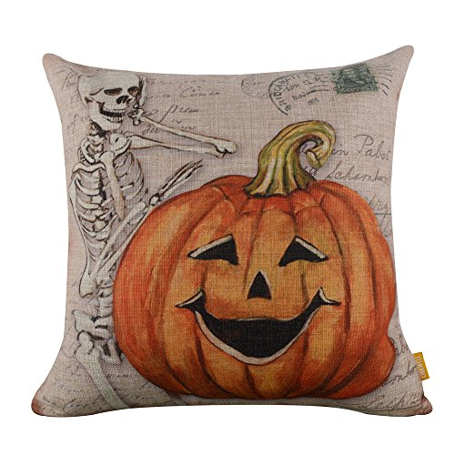 "LINKWELL 18""x18"" Retro Skull Ghost with Pumpkin Burlap Cushion Covers Pillow Case (CC837)"