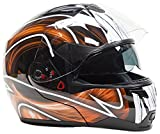 Modular Dual Visor Snowmobile Helmet w/ Electric Heated Shield - Black / Orange ( XXL )