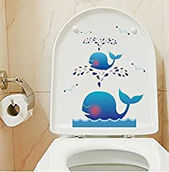 Mziart Cartoon Toilet Lid Cover Stickers For Kids Waterproof Removable Stickers for Restroom wall decals - Cute Spray Whale