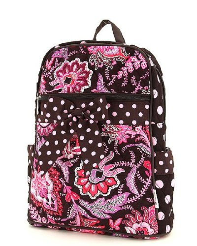 Belvah Large Quilted Floral Backpack - Choice Of Colors (Brown/Pink)