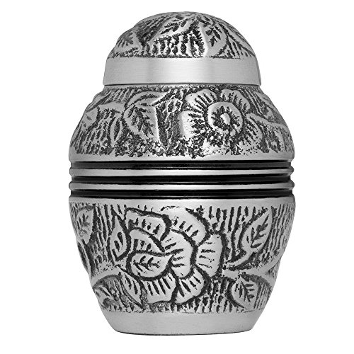 Keepsake Funeral Urn by Liliane - Cremation Urn for Human Ashes - Hand Made in Brass and Hand Engraved - Fits a Small Amount of Cremated Remains - Display Burial Urn at Home or in Niche at Columbarium - Argent Model (Pewter, Keepsake) (Urn For Human Ashes Small compare prices)