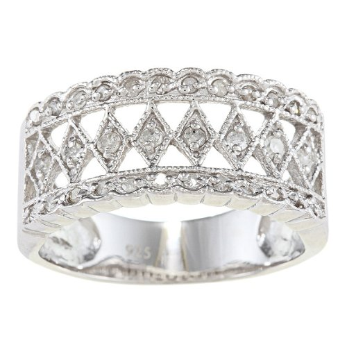 Sterling Silver 1/3ct Vintage Style Diamond Anniversary Ring (G-H, I2)