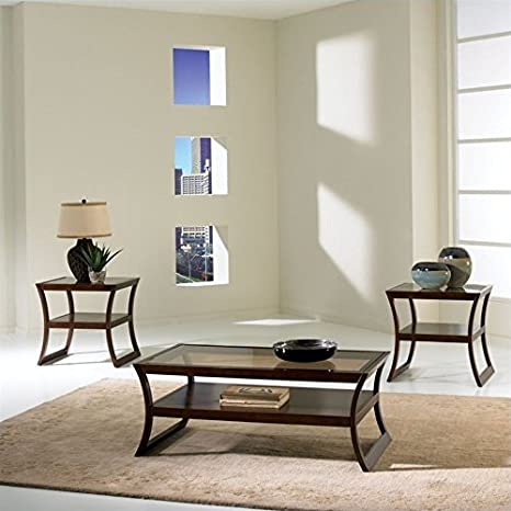 Standard Furniture Utopia 3 Piece Coffee Table Set in Dark Merlot