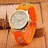 Mujer cuarzo reloj de la jalea dorado silicona reloj para Hombres Unisex negro Navidad feliz cumplea�os regalo - ofertas studyingstore Orange A