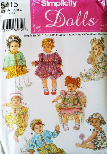 SIMPLICITY 5415 Baby Doll Clothes Wardrobe ~ S 12