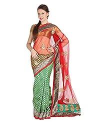 Mina Bazaar Brocade And Net Saree With Blouse Piece