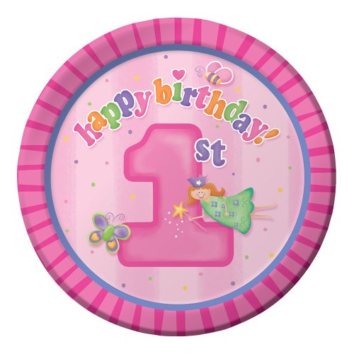 Creative Converting Fun at One Happy First Birthday Girl Round Dinner Plates, Girl, 8 Count